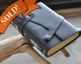 Handmade rustic leather travel journal