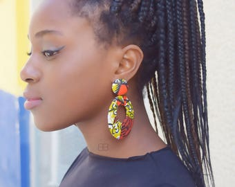 Boucles d'oreilles wax, pendientes africanos, textile earrings, hoop earrings, brincos africanos, Afrikaanse oorbellen, afro earrings