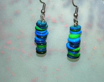 Aqua Shell Stone Dangle Earrings