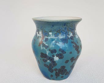 Beautifully Decorated Crystallune Duotone Blue Vase