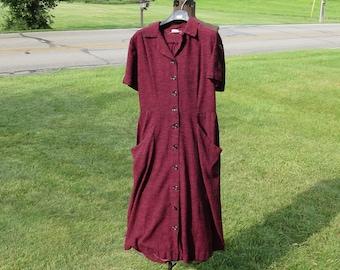 """SALE Vintage 1950s maroon red dress black stripes short sleeves Ellen Joan Baltimore MD A-line skirt 42"""" bust 31"""" waist 45"""" hips (123115)"""