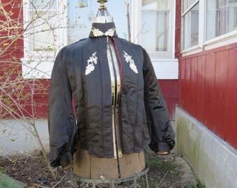 "Vintage Edwardian 1900s black silk satin bodice top bishop's sleeves pigeon front 33"" bust"