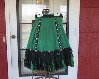 "Vintage 1940s 1950s green velvet skirt Western cowgirl singing stage costume black felt fringe silver sequins 25"" waist  (111817)"