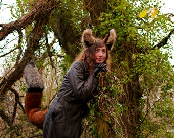 "Luxury Fox Ears & Tail Set! Ginger Fox Ear Headband and 30"" inch Long Perky Red Fox Tail! Realistic Fox Costume Kitsune Nick Wilde Fursuit"