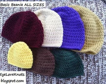 CROCHET PATTERN - Basic Beanie All Sizes, Basic Beanie Newborn through Adult Large, Basic Beanie in 7 Sizes, Permission to Sell Items