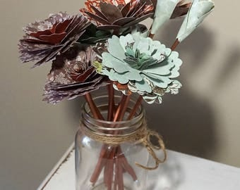Paper Flower Mason Jar Bouquet - Flowers with Stems in Copper, Brown & Green