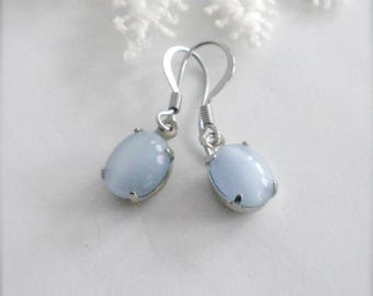 Blue Moonstone Earrings, Blue Moonstone, Dangle Earrings, Blue Earrings, Silver Blue Moonstone Earrings, Drop Earrings, Gift for Her