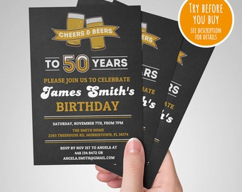 50th Birthday Invitation Male Cheers To 50 Years And Beers