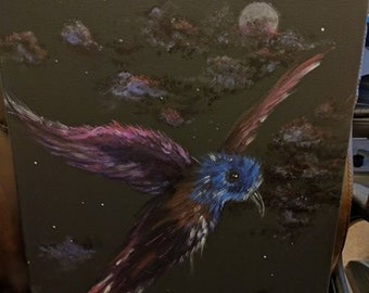 Midnight Flight Acrylic on Black canvas