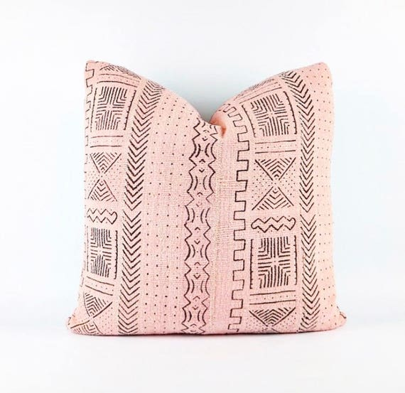 Authentic Blush Pink African Mudcloth Textile Pillow Cover 20x20