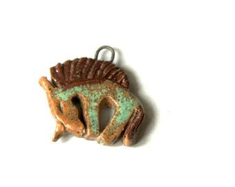 Ceramic UNICORN pendant - handmade jewelry components