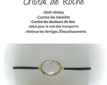 Rock crystal on elastic cord black adjustable bracelet