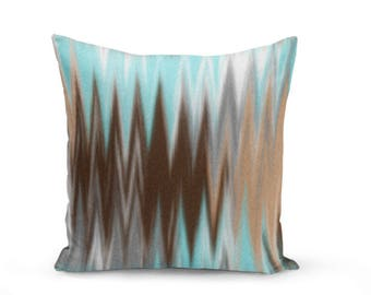 Brown Light Blue  Throw Pillow Cover, Throw Pillow Cover, Abstract throw Pillow Cover, Brown Tan Grey Light Blue White