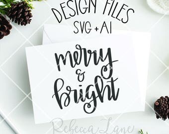 Hand lettered merry & bright | SVG file | clip art | instant download