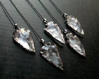 Clear Quartz Arrowhead Necklace Black Chain Necklace Black Arrowhead Necklace Stone Arrowhead Pendant Necklace Gunmetal Chain Quartz Jewelry