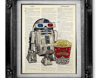 Star Wars POSTER, Star War ART, Star Wars Art Print, Star Wars Print, Star Wars Wall Art, Star Wars Movie Poster, R2D2 Movie Theater Poster