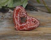 Big Heart- Handmade Porcleain Raku  Pendant