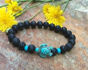 turtle bracelet black lava stone Beaded bracelet mens bracelet women's bracelet Bohemian southwestern jewelry turquoise mala