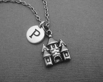 Castle Necklace, Fairytale Castle Necklace, Custom Fairy Princess Castle Bangle Bracelet, Fairy Tale Castle Keychain, Initial Necklace