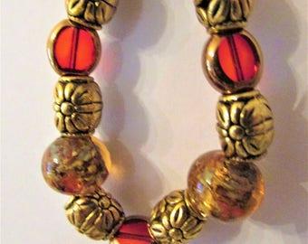 Red and Gold Bracelet, Christmas Bracelet, Red Bracelet, Gold Bracelet