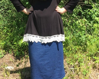 Black Tunic Top with Lace. BRAND NEW with Tags
