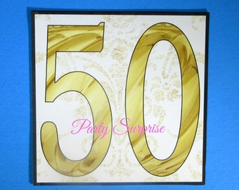 50th Cake Topper Custom Card Birthday Anniversary Centerpiece 50th Cut Out Card Decorations Party 50th Cake Topper