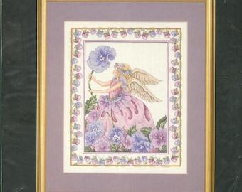 "1995 Purple Pansy Angel DIY NIP Counted Cross Stitch Kit by Designer Donna Vermillion Giampa 12"" x 16"" - Janlynn Kit 125-126"