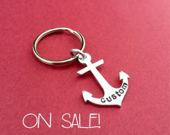 30% OFF! Custom Hand Stamped Anchor, Personalized Anchor Keychain, Nautical Gift, Gift For Her, Gift For Him, Beach Gift, Fisherman Gift