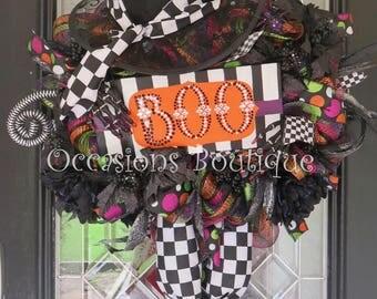 Halloween Wreath, Wicked Witch Wreath, Fall Wreath, Door Hanger, Whimsical Wreath, Deco Mesh, Front door wreath