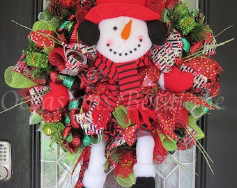 Christmas Wreath, Snowman Wreath, Christmas Decoration, Snowman Decor, Whimsical Christmas Wreath, Large Wreath, Wreath for Door