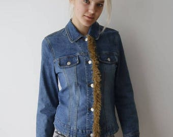 Women Denim Jacket Washed Out Denim Jacket With Brown Fluffy Closure Button Up Jeans Jacket Fluffy Jacket Small Size