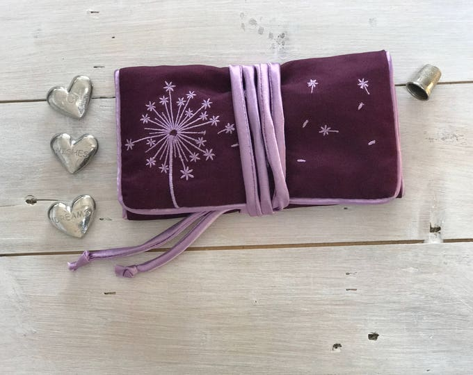 Handmade Jewelry Roll,  Purple and Pink Silk Embroidered with Dandelion blowing in the wind