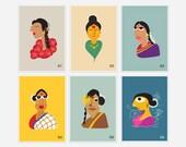 Indian Women Art Prints - Indian culture - Giclee Prints A4 & A5