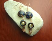 Copper and Blue Swirl Lentil Polymer Clay Earrings