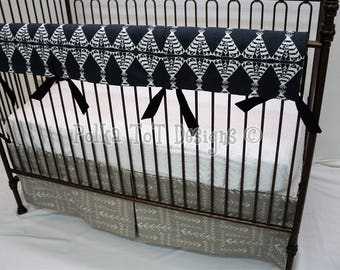 Teepees & Arrows in Navy,Taupe and Cream Bumperless Baby Bedding : The Reservation