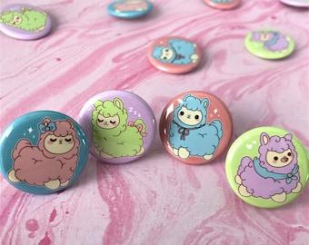 Kawaii Alpacas Button or Magnet Pack ( button pins cute flair pinback pin back magnets )