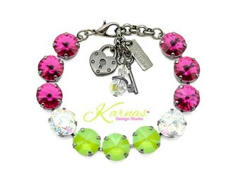 LIPSTICK ON LOLLIPOPS 2018 Spring/Summer 12mm Bracelet Genuine Swarovski Crystal *Choose Your Finish *Karnas Design Studio™ *Free Shipping*