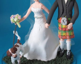 Personalised Couple with one pet Wedding Cake Topper