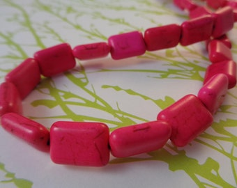 14 Hot Pink Stone Beads 14x10mm Rectangle Shaped Flat Magnesite Beads Dyed Pink Opaque Smooth Finish Rounded Edges Hot Pink Bright Pink Bead