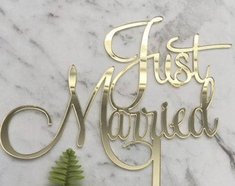 Just Married Acrylic Gold Mirror Wedding Cake Topper
