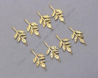 6Pcs, 30mm Raw Brass Leaf Charms Pendants LHY-P4535
