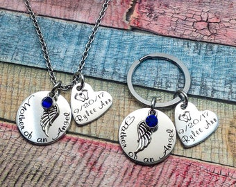 Mother of an Angel, Father of an Angel, Memorial necklace, Memorial Key chain, Sympathy Gift, Miscarriage gift, Loss of Child, Loss of baby