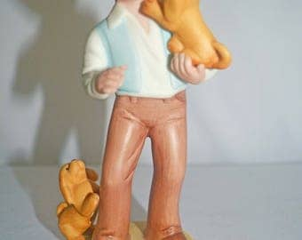 Avon Best Friends Collectible Porcelain Figurine Boy and Puppies 1981