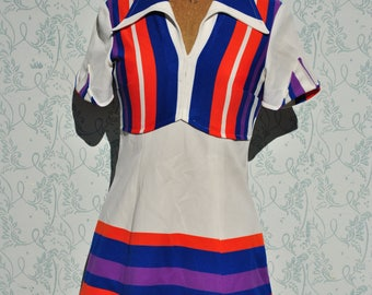 Retro dress, 70s dress, vintage clothing, 70s retro dress, color block dress, mini dress, 70s mini dress, navy blue red white dress,