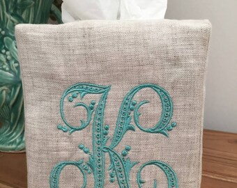 Monogrammed Tissue Box Cover Linen-Flourish Initial, monogrammed gift-personalized gift-hostess gift