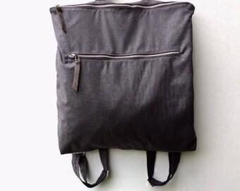 Large gray zipper backpack, Large zipper laptop backpack, Large gray bag,Gray vegan backpack