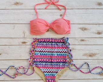 High Waist Swimsuit Bikini - Vintage Retro High Waisted Bathing Suit Swimwear Coral Pink With Tribal Aztec Criss Cross Cut Out Tie Sides