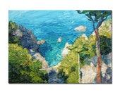 Coastal oil painting on stretched canvas, Italian coast, seascape painting, textured art