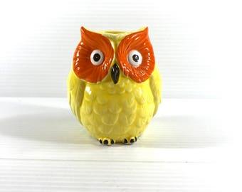 OWL VASE, Yellow Owl Vase, Vintage Owl Vase, Unique Vase, Sculpted Vase