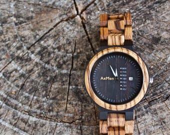 Zebra Wood Watch, Mens Wood Watch, Wooden Watch, Gift for Him, Wooden Watch, Personalized Watch, Wedding Gift, Groom Gift, Boyfriend Gift